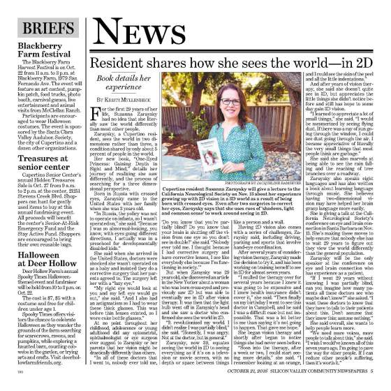 Cupertino Courier newspaper, Cupertino resident, Susanna Zaraysky, shares how she sees the world–in 2D